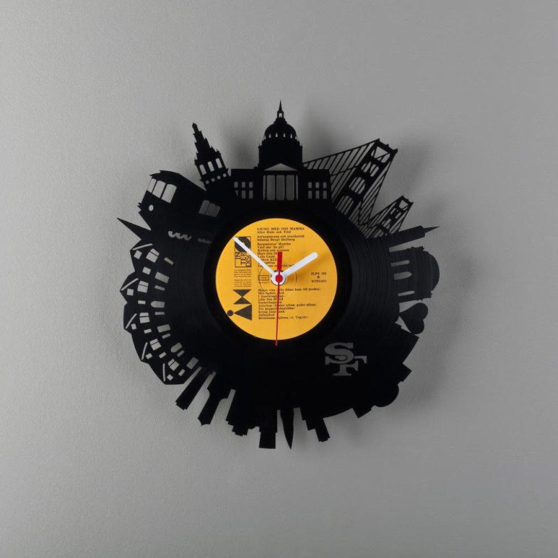крутые настенные часы купить из винила для интерьерв