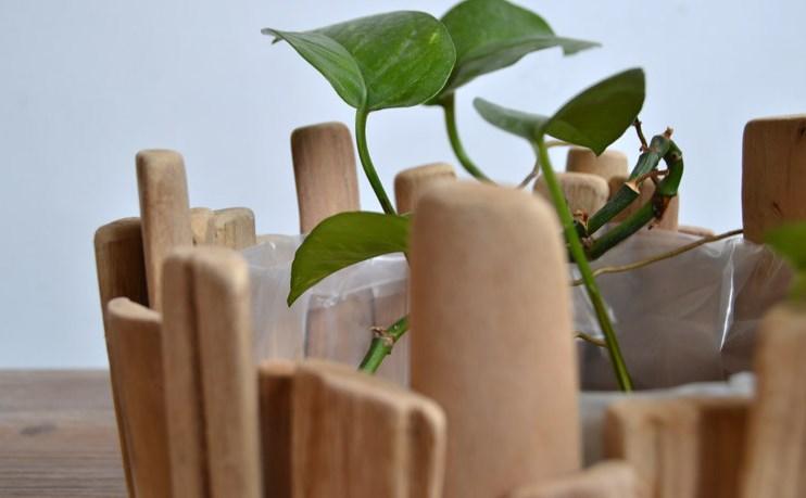 Дизайнерский горшок для цветов из натурального дерева ручной работы купить