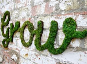надписи мохом на стенах как сделать оформление стен