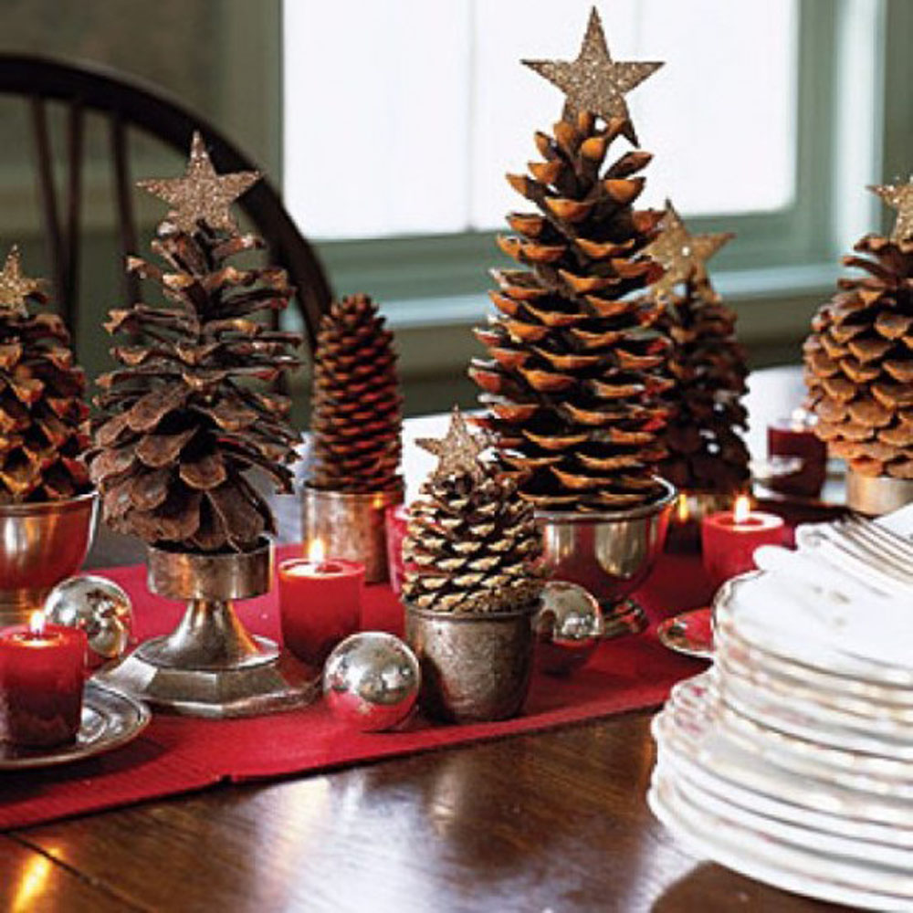 interior-amazing-christmas-home-decor-idea-for-centerpiece-with-red-tablecloth-brown-cones-silver-christmas-balls-and-red-candles-glamorous-christmas-home-decor-ideas