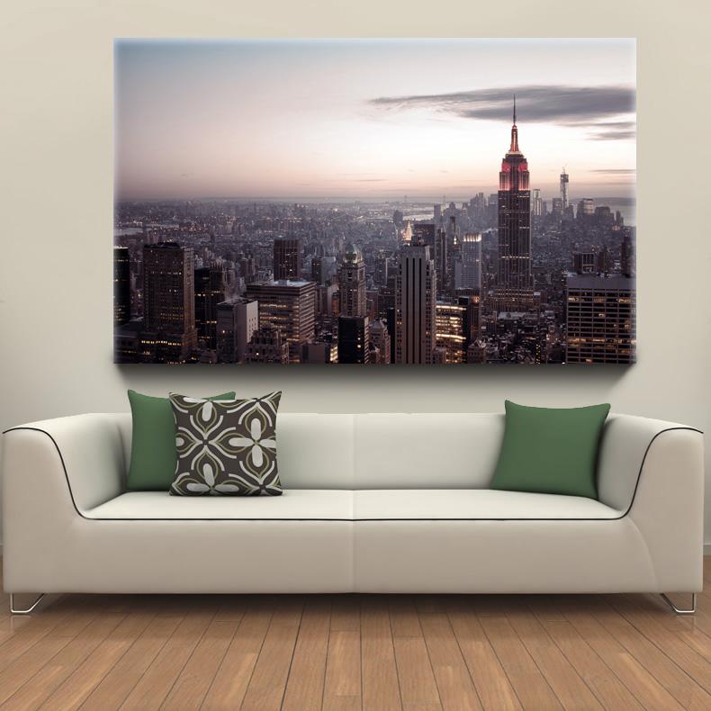 Шикарный постер с видом на верхушки небоскребов Нью Йорка купить недорго широкий формат