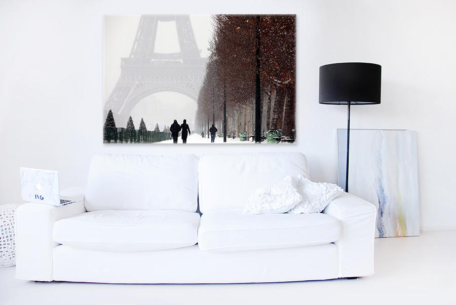 купить постер Париж зимой заснеженный светлый Эйфелева башня дымка