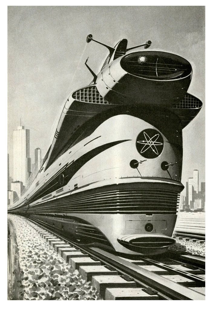 ретро футуристический поезд
